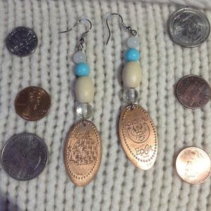 Disney Jewelry - Epcot Norway Smashed Penny Handmade Earrings